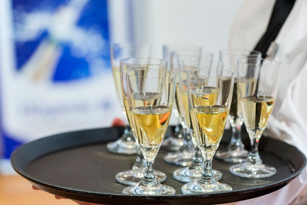 Champagne on tray at a EPMA reception