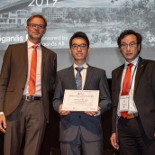 EPMA PM Thesis Competition 2019 winner - Doctorate / PHD Category - Dr Chu Lun Alex Leung with EPMA President Mr Ralf Carlström and Euro PM2019 TPC Co-Chair Prof Jie Zhou